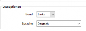 Screenshot Leseoption in Einstellungen von Adobe Acorbat DC